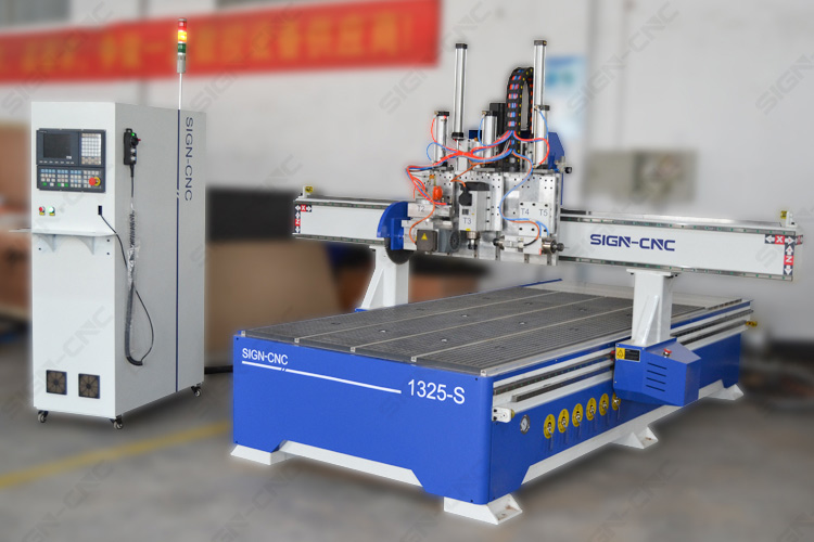ACE-1325 Pneumatic CNC router with saw and horizontal spindle