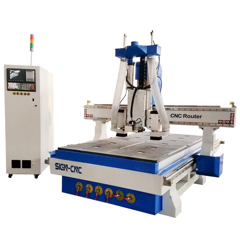 Pneumatic ATC CNC router with horizontal spindle