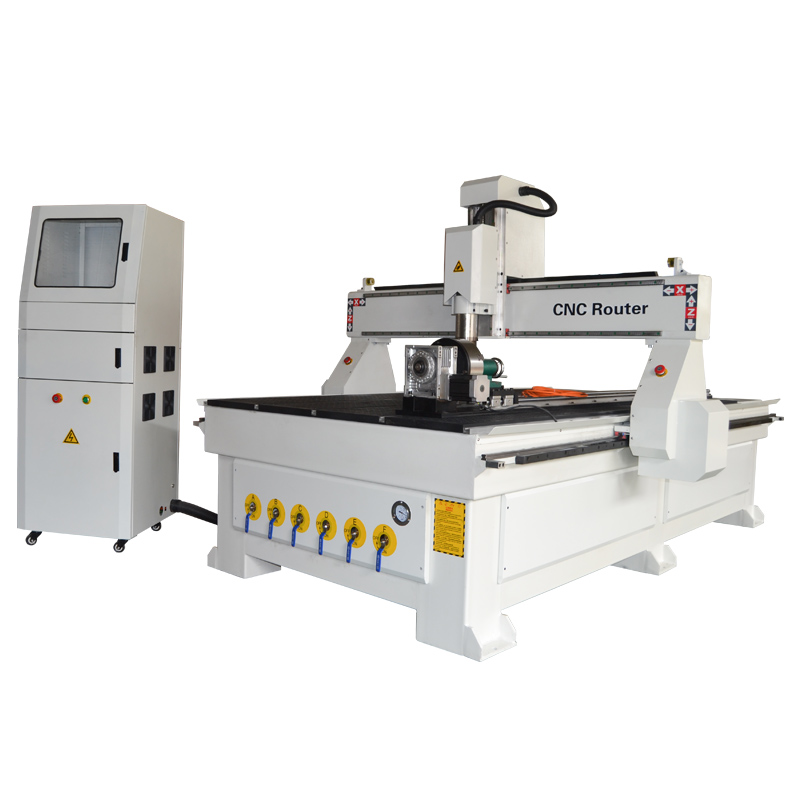 ACE 1325 HVR CNC router with rotary on table for cylinder wood