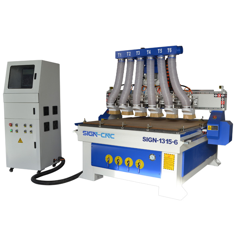 Multi heads CNC router machine 1315 six spindle