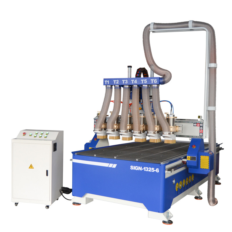 Multi heads CNC router machine 1325 six spindle