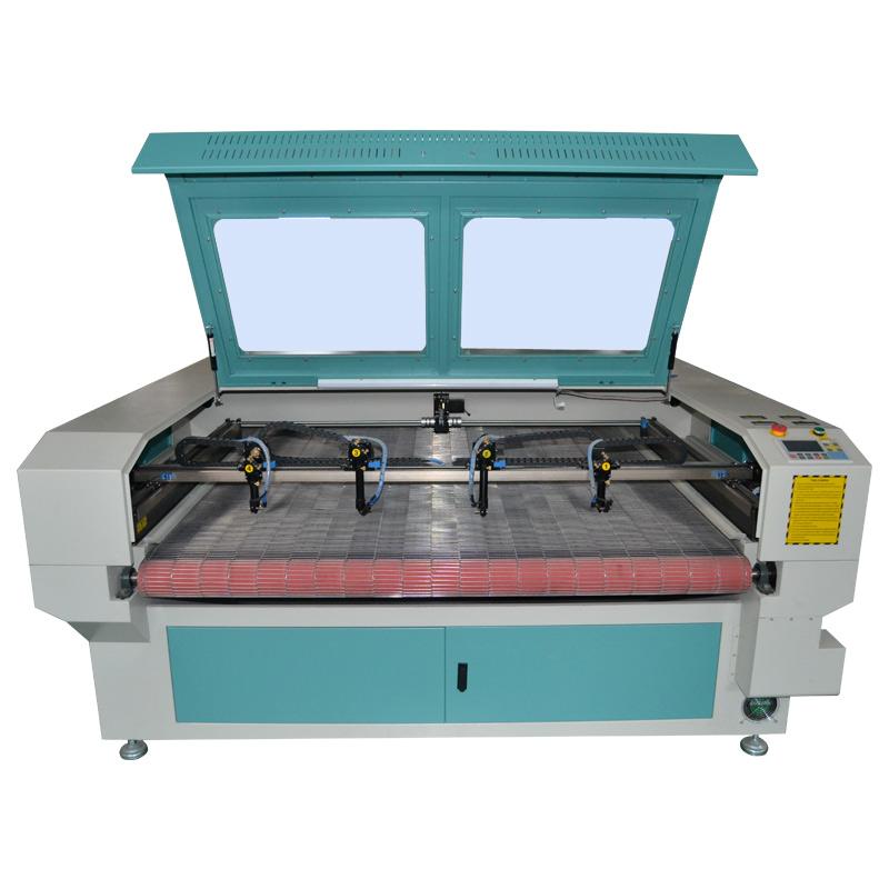 1610 CO2 лазерный станок для резки ткани с автоматической подачей с 4 головами