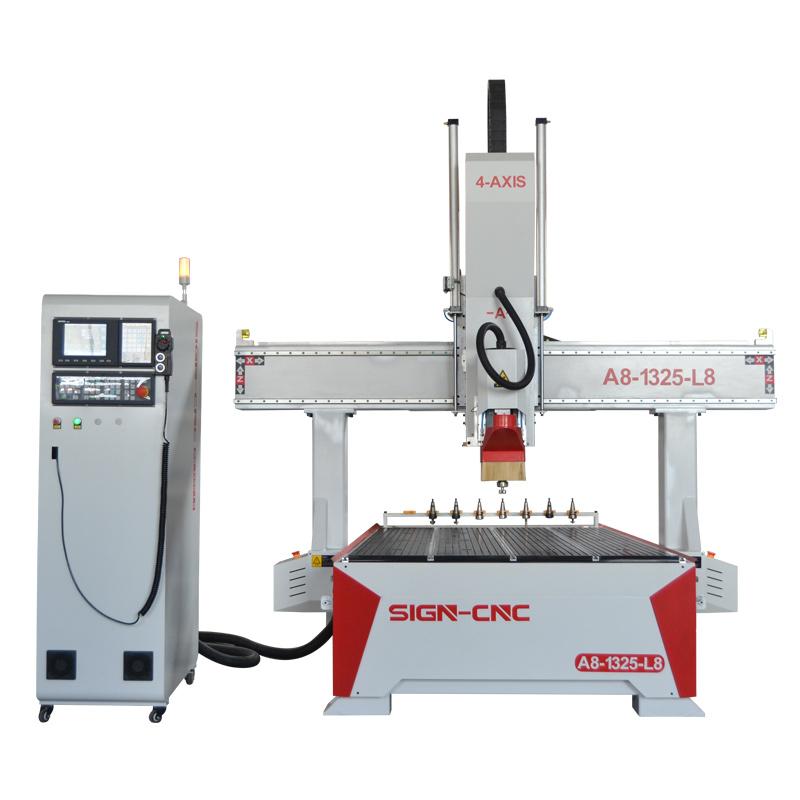 A8-1325-L8 Высокая точность 4 ось ATC фрезерный станок с поворотным шпинделем для дерева